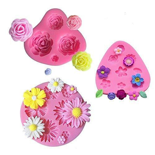 mciskin Blumen Kuchen Fondant Formen,Mini Blumen Silikon Formen,Rosen Blumen Form,Gänseblümchen Blumen Formen, für Jelly Sugar Candy Schokolade Fondant Kuchen Dekoration(3 Stück)