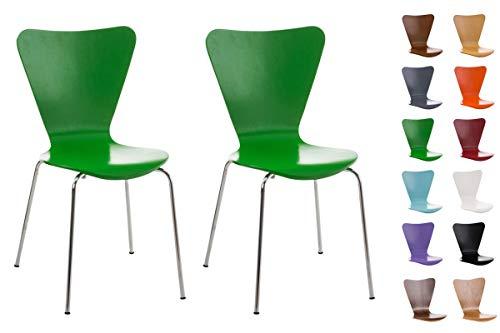 CLP Set de 2 Sillas Comedor Calisto I Juego de 2X Sillas de Cocina con Asiento de Madera I 2X Sillas de Visitas Apilables I Color: Verde