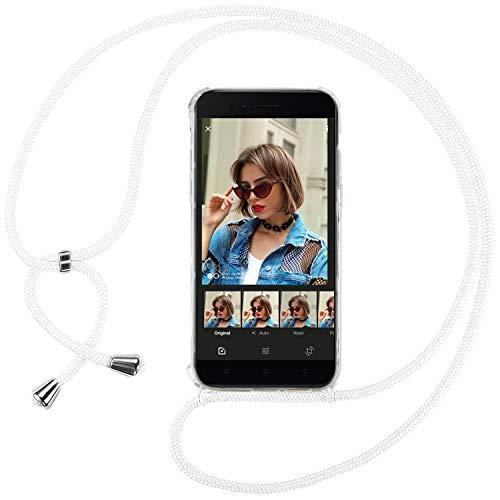 Ingen Funda con Cuerda para Xiaomi Mi A1 - Carcasa Transparente TPU Suave Silicona Case con Colgante - Blanco