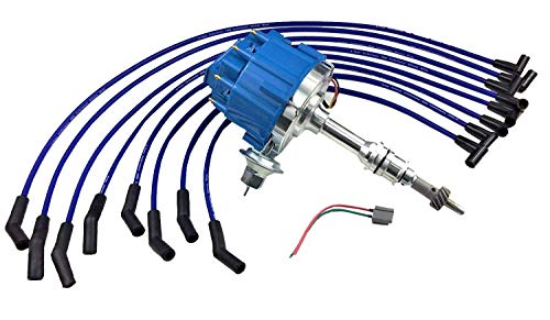 A-Team Performance HEI Complete Distributor Blue Cap with 6CYL 8mm Blue Silicone Spark Plug Wires Set and Pigtail Wiring Harness Tachometer Compatible with Ford Inline 6 144 170 200 250 5//16 Hex Shaft