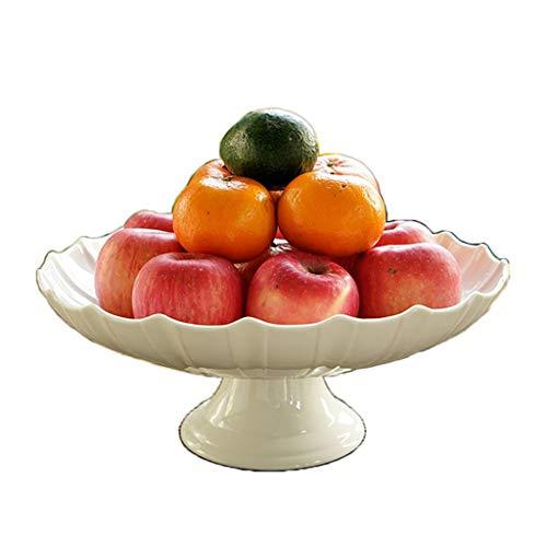 Salat Platte Party Kuchen Tisch, Wohnzimmer Dekoriert Keramikplatte Runde Süßigkeiten Platte Haushalt Küche Tablett Büro Obstteller Multifunktionsplatte (Size : 30 * 30 * 13.4CM)
