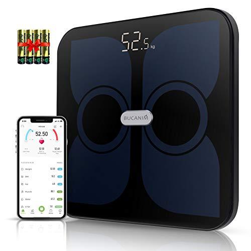 Intelligente Körperfettwaage, Bluetooth Personenwaage mit App, Digitalwaage mit 6 mm gehärtetem Glas und unbegrenzten Anwendern, BIA Technologie für Körperfett, BMI, BMR usw. (Schwarz)