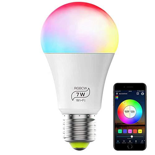 Bombilla Led, GLURIZ Bombilla Inteligente Wifi E27, 7W Bombilla Alexa 16 Millones de Colores se Pueden Ajustar, RGBCW LED WiFi Bombilla, compatible con Alexa Google Home Siri IFTTT