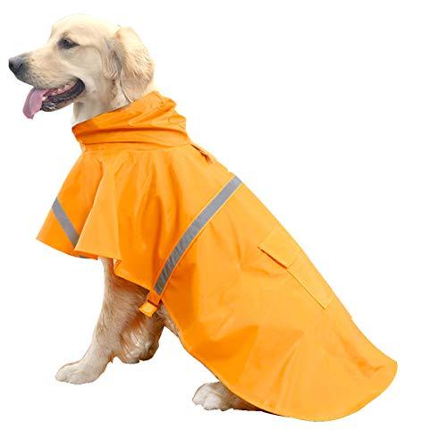 HAPEE Hunde-Regenmantel für große Hunde mit reflektierenden Streifen Hoodie, Regenponcho Jacke für Hunde, 2XL++ (Back Length 34