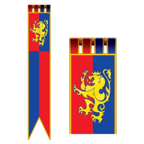 KULTFAKTOR GmbH Hängedeko Raumdeko Ritter Mittelalter blau-rot-gelb 1,8m Einheitsgröße
