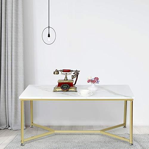 Wakects Couchtisch, rechteckig, Couchtisch, Marmor, mit Rahmen aus vergoldetem Metall, geeignet für Wohnzimmer, Büro, Empfangsbereich