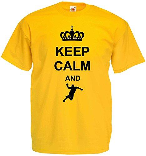 Handball Herren T-Shirt Keep Calm and Handball WM Sportshirtgelb-M