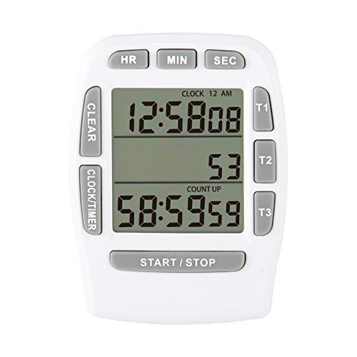 Runleader - Temporizador de cocina digital, seguimiento de cuenta regresiva triple, registro de cronómetro, pantalla de reloj de 12/24 horas, recordatorio de timbre para hornear, cocinar(BLANCO)