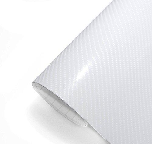 IlMondoMall 4D カーボンシート カーボンステッカー ホワイト 4Dカーボン (152×035cm, ホワイト)