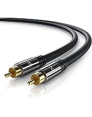 Primewire - 0,5m HQ Audio RCA Subwoofer Cable - Conector metálico de precisión - Negro