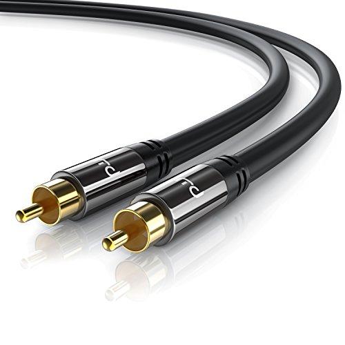 Primewire - 1m HQ Audio RCA Subwoofer Cable - Conector metálico de precisión - Serie Negro