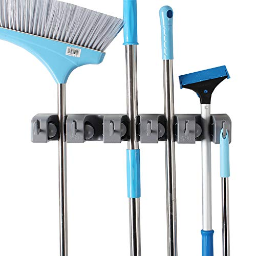 JIAHAI Mop Broom Holder Garden Tools Wall Mounted Commercial Organizer Storage Rack for Kitchen Garden and Garage,Laundry Offices,Spring Loaded Mop Hanger Handles Up to 1.5-Inches(Gray Heavy Duty