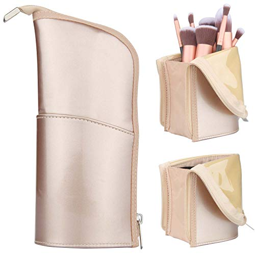 Makeup Brush Holder Organizer Bag Professional Artist Brushes Travel Bag Stand-up Makeup Cup Waterproof Dust-proof Brush Storage Pouch Case (Rose Gold)