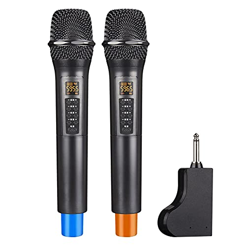 SRHNXW Wireless Microphone with Receiver,Bluetooth Dynamic Microphone,50-100m Transmission Distance,for Karaoke Singing,Wedding,Party