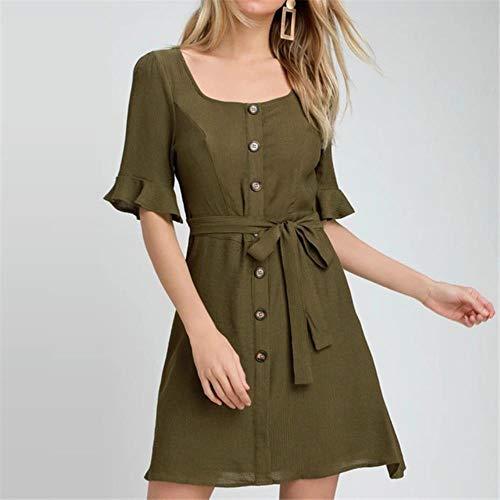 Kai & Guo Sommerkleid für Damen, halblange Ärmel, quadratischer Kragen, elegant, mit Knöpfen, Schärpen, Mini-Chiffon-Kleider S 7474-armeegrün