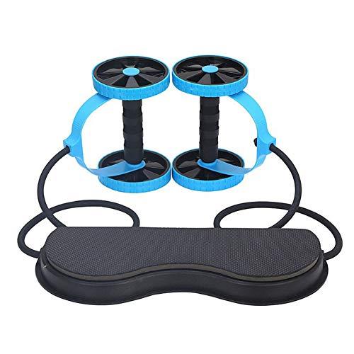 Ab Wheel Roller Double AB Roller Oefening Equipmen Muliti-Function Abdominal Trainer Voor Home Gym Pull Roda Waist Afslanken Trainer,Blue