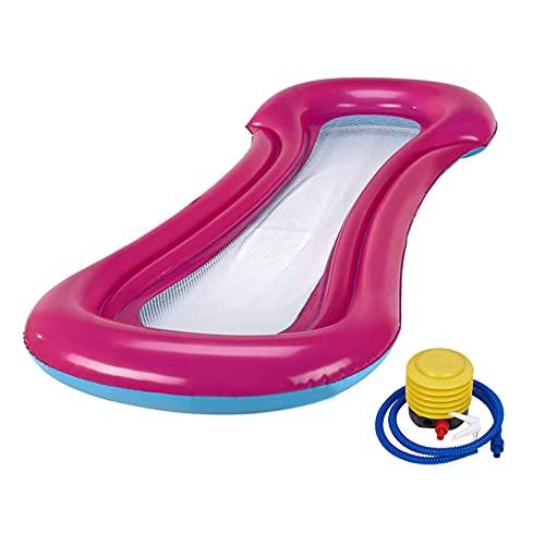 LQKYWNA Tumbona Inflable Flotador para Piscina, Malla Central Diseño Fresco Adultos Niños Sofá con Hamaca De Agua para Piscina Al Aire Libre Fiesta En La Playa