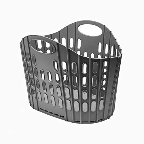 Addis Fold Flat Laundry Basket platt tvättkorg, lätt att förvara, plast, mörkgrå, 38 liter