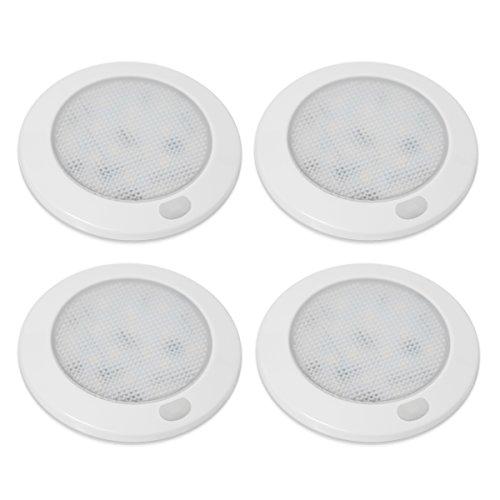 Dream Lighting 12V LED Deckenleuchte Innenbeleuchtung Kabinett Küche Beleuchtung Dimmbar 76MM Warmweiß 3000K 4 Stücke