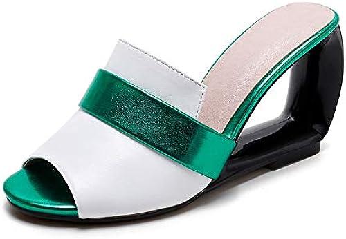 HommesGLTX 2019 Plus la Taille Taille 34-43 été Chaussures pour Femmes en Cuir véritable stramge Talons Hauts Mules Pompes Chaussures Sandales  édition limitée chaude