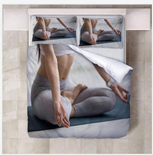 XQJHDHKAD Bettwäscheset Yogamatte, Die Yoga TUT,Bettwäsche Super Weiche Atmungsaktive Polyester Hypoallergen Atmungsaktive-203X230Cm