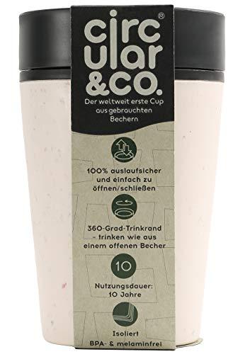 Circular & Co 2Go Kaffeebecher, Fassungsvermögen: 340 ml, 100% dicht, 360°-Trinköffnung, Einhand Bedienung, mit Deckel, Becher weiß/schwarz Unisex OS