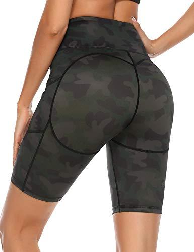 Sykooria Pantalones Cortos de Yoga para Mujer Leggings Deportivo con Bolsillos Mallas Cortas de Compresión para Running Casuales Fitness