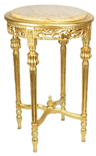 Casa Padrino Barock Beistelltisch mit cremefarbener Marmorplatte Rund Gold 70 x 45 cm Antik Stil -...