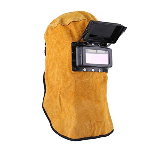 Máscara de soldadura para soldador de cuero Durable Buena calidad Capucha Casco Clamshell Soldadura Casco Máscara de protección Gorra de trabajo con lente de filtro de oscurecimiento automático