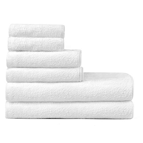EIUE Microfiber Towel Set, White Bath Towel Set with Extra Absorbent and Fast Drying,Suitable for Shower,Sports, Travel and More.(6 Piece)