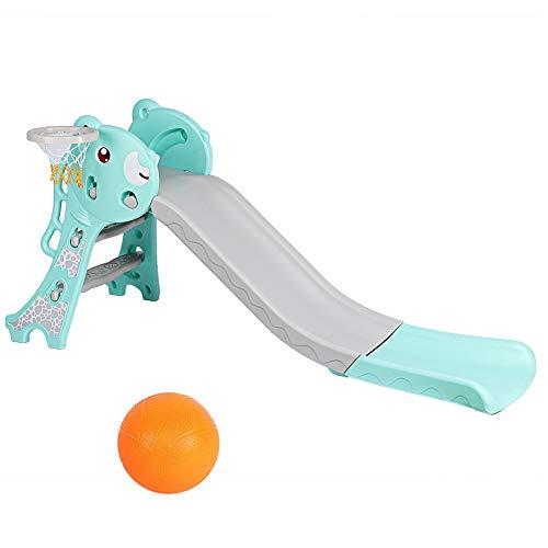 Ausla Tobogán para niños con diapositivas del tampón de desaceleración de seguridad, juguetes con escalera y baloncesto para niños, 165 x 82 x 70 cm