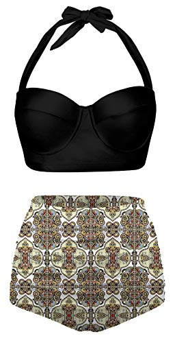 Angerella Womens Classic Geometric Pattern Summer Halter Bikinis High Waisted Swimsuits,S-10