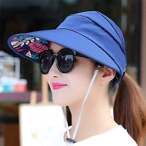 Gorras y sombreros protección uv,Sombreros para el sol para mujeres Viseras Sombrero Pesca Fisher Beach Hat Protección UV Cap Negro Casual Mujeres Verano Gorras Cola de caballo Sombrero de ala ancha-