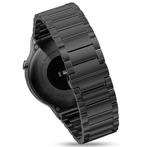Pinhen Para Huawei Watch Band - Pulsera de malla de acero inoxidable de 18 mm para Huawei Watch, Huawei Fit, Huawei Talkband B5 (acero negro)