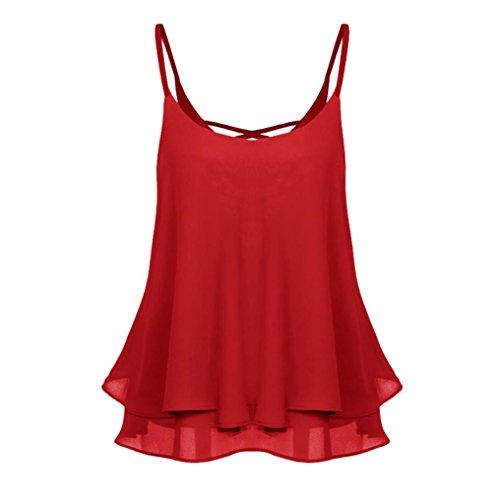 MRULIC Damen T-Shirt Armelloses Top Frauen Verstellbare Schultergurte Runden Hals Leibchen Crop Top(H-Rot,EU-38/CN-M)
