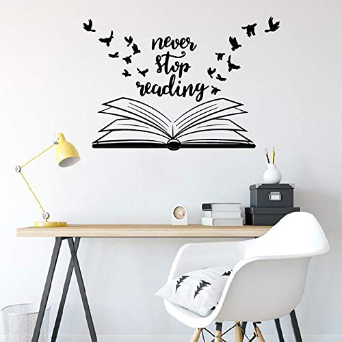 Nunca dejes de leer pegatinas de pared biblioteca escuela aula estudio pegatinas de pared decoración del hogar mural A7 82x56cm