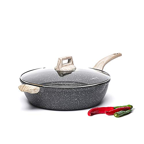Carote 6.5-Quart Nonstick Saute Pan with Helper Handle, Deep Frying Pan with Cover, Non-Stick Jumbo Cooker Granite Stone Coating from Switzerland,12.5 inch
