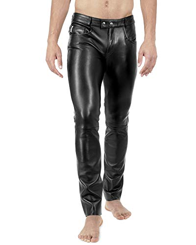 Bockle Stretch Leather Jeans Lederjeans Lederhose 1991 Super-Stretch Tube Skinny Röhre Lamm Leder Leggins, Size: W30/L32