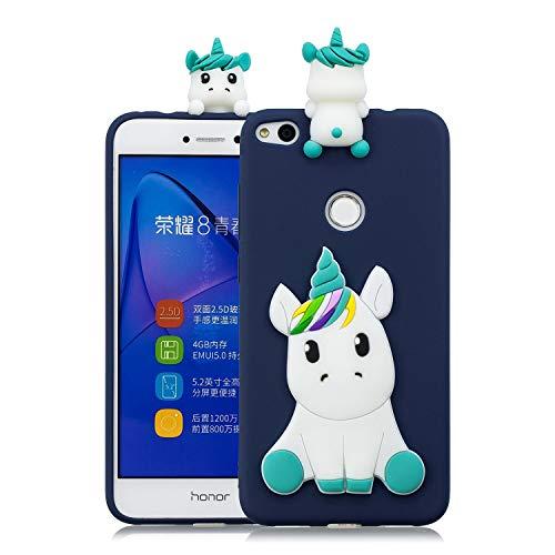 Wubao Funda Compatible con Huawei P8 Lite (2017) Silicona 3D Animal Dibujos Motivo Creativo Ultrafina Carcasa Case Antigolpes TPU Bumper Kawaii Resistente Cover - Unicornio