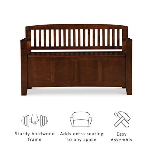 "Product Image 19: Linon Home Dcor Linon Home Decor Cynthia Storage Bench, 50""w x 17.25″d x 32″h, Walnut"