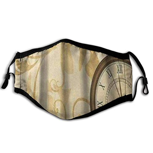LISUMAL Gesichtsbedeckung,Uhr Rustikale Vintage Grungy Taschenuhren auf Kette Romantische Retro Kunst,Sturmhaube Unisex Wiederverwendbar Winddicht Staubschutz Mund Bandanas Outdoor Camping Motorrad