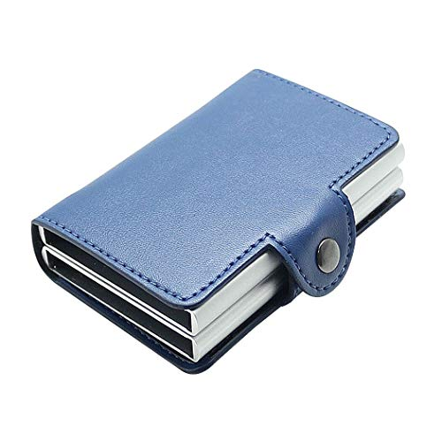 Billetera Hombre,Billetera,billeteras,Caja de Aluminio Doble automática de la Caja de la identificación por radiofrecuencia, Paquete de la Tarjeta de Cuero (Azul Premium)