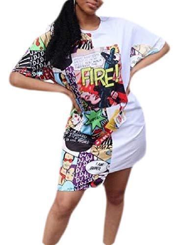 Lucky Century-MX Mangas de Verano Anchas,impresoras Digitales,Camisetas,Vestidos Sueltos. 1 L