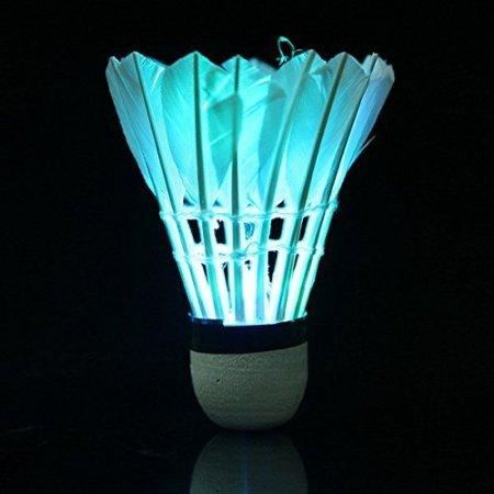 Aierly LED Badminton Set Shuttlecock Dark Night Glow Birdies Lighting for Outdoor Indoor Sports Activities, 4 Packs