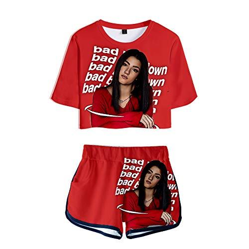 NCTCITY Mujer Crop Tops T-Shirts + Pantalones Cortos Set Casuales Charli D'Amelio Impresin 3D Hip Hop Camiseta y Pantalones Cortos Dos Piezas