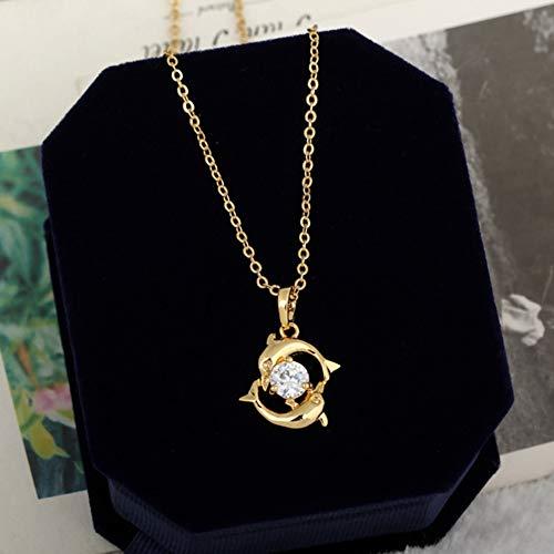 LXMYLI [[[[[Collares De Lujo para Mujeres Joyas para Parejas Románticas Incrustaciones De Cristal Color Dorado Piscis Dolphin Colgante Cadena Collar Informal (tamaño: 23 Mm) Regalo]],Null,en]]]