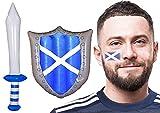 I LOVE FANCY DRESS LTD Drapeau écossais gonflable et drapeau écossais – Rugby Football St Andrews Day – Tatouage avec épée et bouclier gonflables