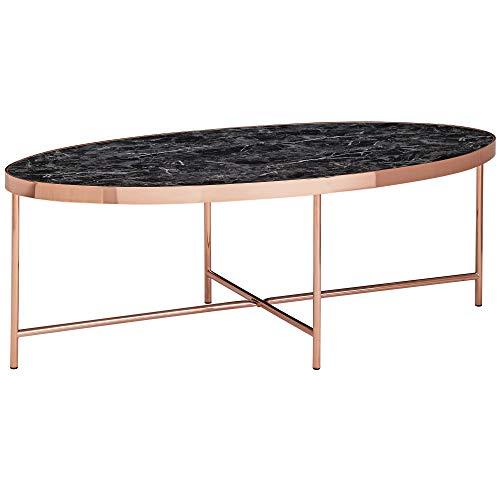 FineBuy Design Couchtisch Marmor Optik Schwarz - Oval 110 x 56 cm mit Kupfer Metallgestell | Großer Wohnzimmertisch | Lounge Tisch
