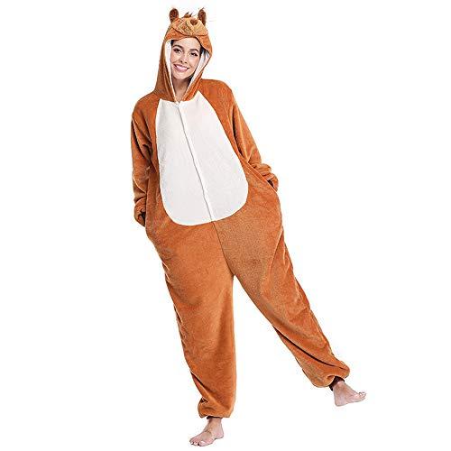 JJAIR Unisex Erwachsene Pyjamas, Tier Cosplay Plüsch-One Piece Cosplay Eichhörnchen Tierkostüm Halloween, S