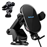 Nalwort Wireless Car Charger Auto Clamping with Air Vent and Dashboard Mount 15W Qi Fast Charge Wireless Car Charger Mount Compatible for iPhone 12/12 Pro Max/11, Samsung S20/S10/S9, Note 20 and More
